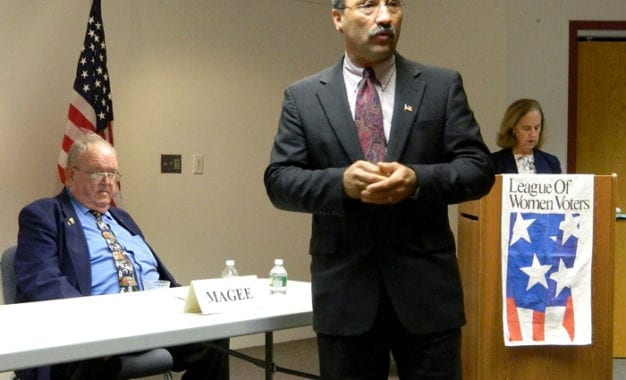 Magee, Salka debate issues at LWV election forum in Cazenovia