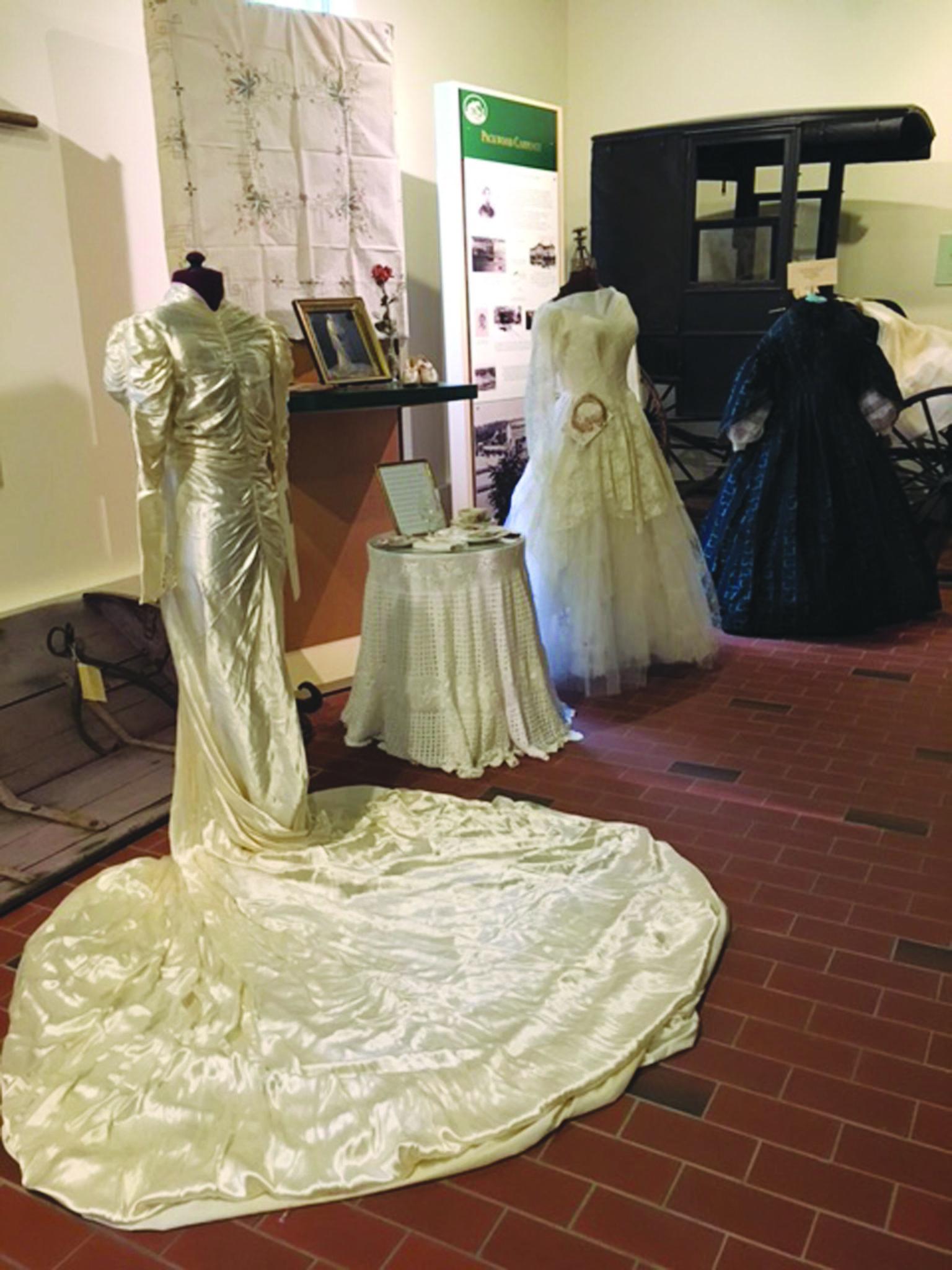 Historic wedding dresses on display