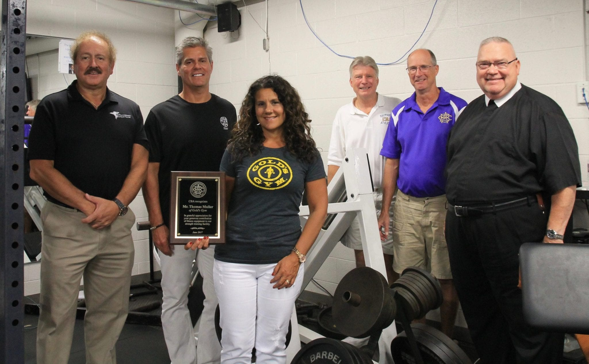 Gold's Gym donates equipment to CBA weight room